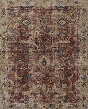 9'x9' Round Loloi Rug Porcia Polyester Red Beige Power-loomed Transitional PB-08