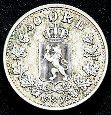 1898 NORWAY SILVER 50 ORE COIN