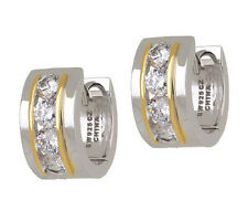Epiphany Platinum Plated Sterling Silver Diamonique Huggie Hoop Earrings QVC