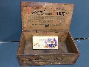 OLD VINTAGE PEARS SOAP CARDBOARD BOX & PAPER LABEL GROCERY MILK BAR ADVERTISING