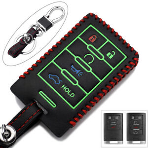 5 buttons leather Key remote Fob Case Cover for Cadillac SRX DTS STS CTS