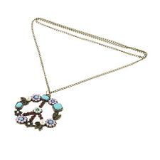 Flower Coral Turquoise Simulated-Pearl Peace Sign Pendant Long Necklace TG TG