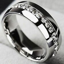PLATINUM/STEEL ALLOY .96 CARAT GLEAMING SIMULATED MOISSANITE WEDDING RING SIZE 9