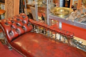 Antique Mid 19th Century Chaise Lounge,Deep Buttoned Red Leather, c 1840