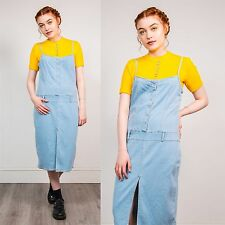 WOMENS VINTAGE STRAPPY DENIM DRESS FADED BLUE MIDI CASUAL RETRO SUMMER FITTED 14