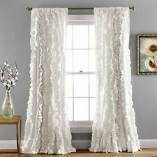 "Lush Decor Belle Window Curtain RUFFLED White PANEL 84""  Rod-Pocket"