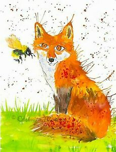 """Greeting card,  Fox and a Bumblebee   5"""" x 7"""" By Casimira Mostyn"""