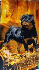 Rottweiler Towel Flames Dog Beach Pool Souvenir 30x60