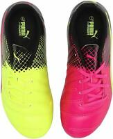 Puma evoPOWER 4.3 Tricks FG Jr Pnk Glo/Safe Yllw Soccer Shoe (PS/GS) (103624 01)
