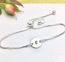 Silver Slider Bracelet Personalised with an Initial Charm Gift Wrapped