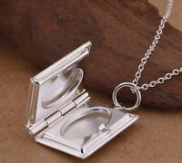 925 Sterling Silver LOCKET Photo  Pendant Charm Necklace Chain Womens Jewelry