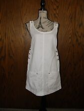 3050) White Denim Sleeveless Cover Up Sun Dress New York Style Silver Buttons