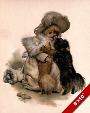 YOUNG GIRL IN FANCY CLOTHES WITH HER PET DOGS ART PAINTING PRINT ON REAL CANVAS