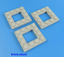 LEGO / 4x4 plaques gris clair avec trou / 3 pièces