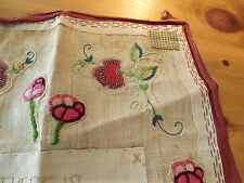 VINTAGE LINEN BURLAP BEADED EMBROIDERED PILLOW COVER TABLEMAT PICTURE