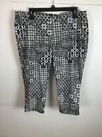 Terra Sky Womens Cropped Pants Size 2XL Black White Cotton Blend Jeggings