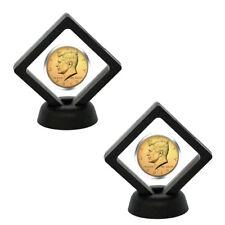 """3D Floating  Coin Display Frame Holder Box Case Black Stand (2.1"""") - Set of 2"""