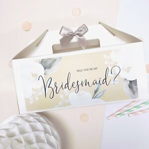 PERSONALISED WEDDING GIFT BOX | WHITE ROSE | WILL YOU BE MY BRIDESMAID PROPOSAL