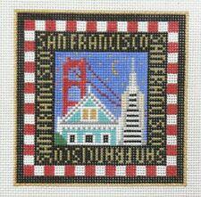 Amanda Lawford San Francisco Travel Square Handpainted Needlepoint Canvas