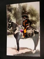 Real Hand Colored Photo RPPC Man on Horse Mexico Mexican California CA Vintage