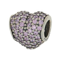 NEW Authentic Pandora Pave Heart Charm - Sterling Silver CZs Pink 791052PCZ Retd