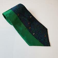 After Dark Mens Vintage Tie Mowin Man 100% Silk Green
