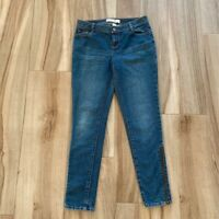 Fashion Bug Womens Straight Leg Jeans Blue Medium Wash Stretch Whiskered 8