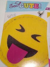 Sew Cute Emoji Smile Blah Backpack clip Cute Smiley face felt kit Rare New gift