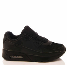 LADIES WOMENS BLACK RUNNING TRAINERS P.E. JOGGING GYM FITNESS SPORTS SHOES SIZE