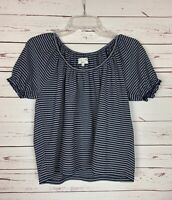 Madewell Texture & Thread Women's S Small Navy Striped Cute Top Blouse Shirt Tee