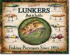 Lunkers Bait & Tackle Retro Vintage Sign fishing lodge shop rod reel lake cabin