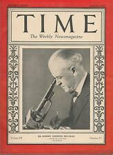 Time Magazine April 25, 1927 Dr. Robert Andrews Millikan