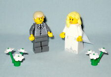 NEW LEGO WEDDING BLONDE BRIDE WITH TRAIN AND GRAY PINSTRIPE SUIT GROOM MINIFIGS