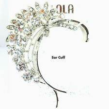 Couture Chic Flower Motif Crystal Evening Dangle Lobe Cuff  Earring Ear Jewelry