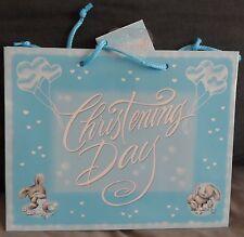 "GIFT BAG - BIRTH/CHRISTENING - ""CHRISTENING DAY"" - BOY - BLUE - BALLOONS/TEDDIES"