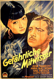 "ANNA MAY WONG in ""Dangerous to know"" rare movie poster from 1938"