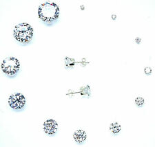 925 STERLING SILVER EARRINGS STUD CLEAR CUBIC ZIRCONIA UK sellr SOLID SILVER