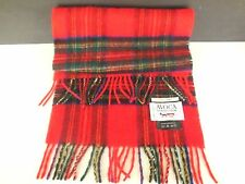RED Plaid 100% Cashmere Rally Klad Scarf Royal Stewart from Avoca 59x12
