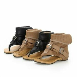 Summer Women Roman Ankle Boots Buckles Flip Flops Flat Heel Gladiator Sandals DD