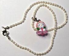 Freshwater Rice Pearl Necklace w Peach Baby Hello Kitty Swarovski Element Charm
