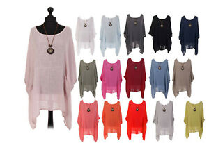 Ladies Italian Lagenlook Summer Batwing top Plain Tunic With necklace Plus Baggy