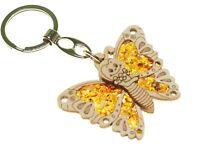 Schmetterling Schlüsselanhänger Taschenanhänger süßer aus Bernstein / Holz