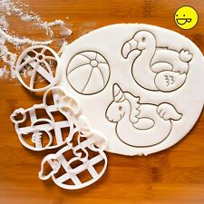 Beach Ball, Flamingo and Unicorn Float cookie cutters - donut ring swimming pool