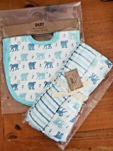 NEW Safari MONKEY Cotton Muslin Receiving Swaddle Baby Crib Blanket bib NWT blue