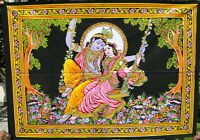 RADHA KRISHNA ARAZZO ETNICO DALL' INDIA 110 x 79 cm RAJASTHAN SHIVA YOGA HINDU