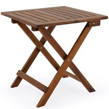 Low Snack Folding Table Acacia Wood Small Bistro Coffee Side Square Furniture