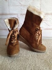 Michael Kors Fur Wedge Mid High Booties with laces Size US 4