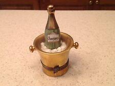 Trinket Box Vintage Porcelain Limoges France Champagne Bottle In Ice Bucket
