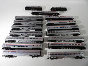 15 N scale Amtrak Mixed passenger cars & 2 Amtrak Diesel locos