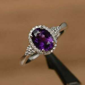 2.50Ct Oval Attractive Cut Amethyst Halo Engagement Ring 14K White Gold Finish